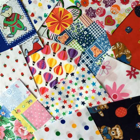 Patchwork Squares - 50 x children s bright patchwork squares in 4 and 5