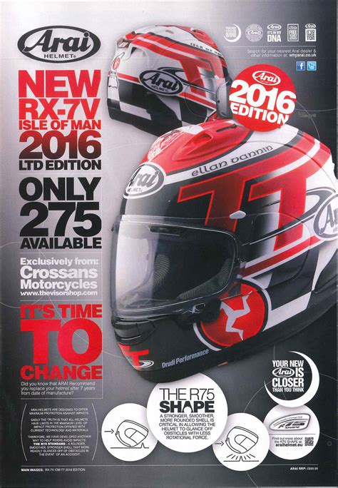 Iom Tt 2016 Original Mug arai rx 7v iom tt 2016 helmet ad in road racing season preview mag