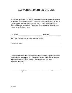 Background Check Waiver Fillable Background Check Waiver Form Msad 54