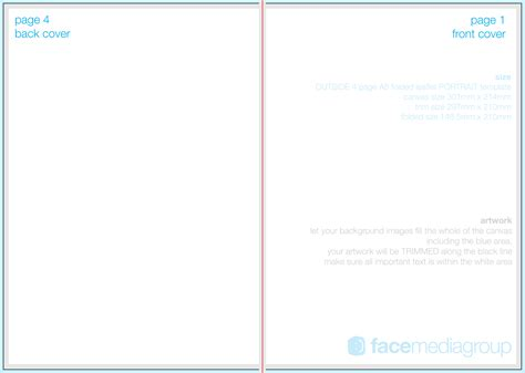 A4 Half Fold Card Template by 4 Page A5 Leaflet Roll Fold Outside Edge Aka Folded
