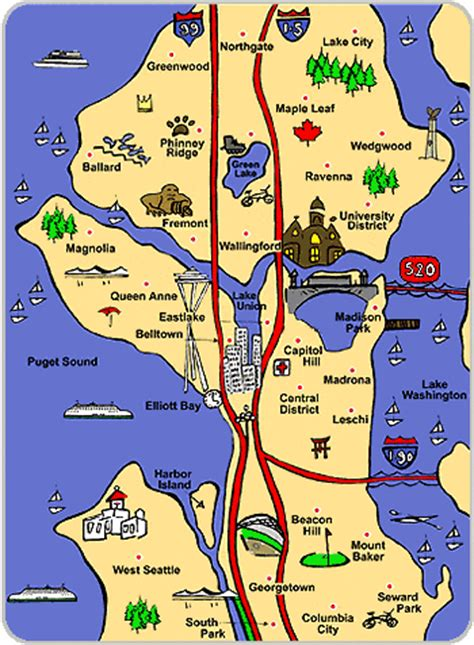 seattle map of attractions moving to seattle advice bellevue shoreline