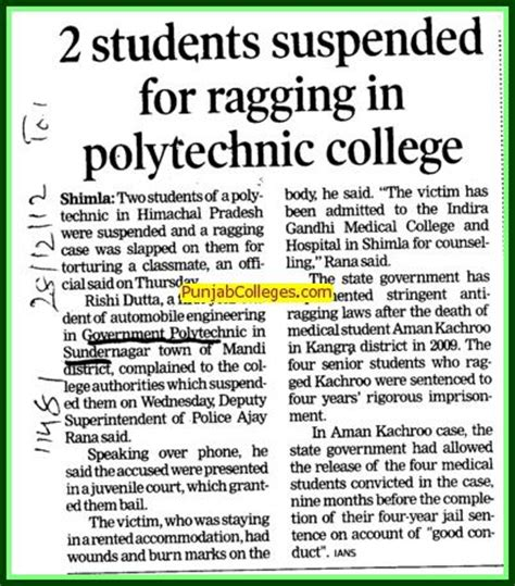Ragging In Mba Colleges by Government Polytechnic College Sundernagar Himachal Pradesh