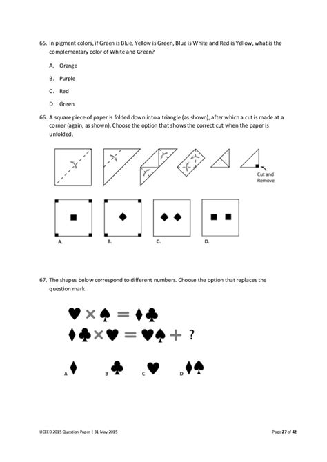 paper pattern of viteee 2015 uceed 2015 question paper
