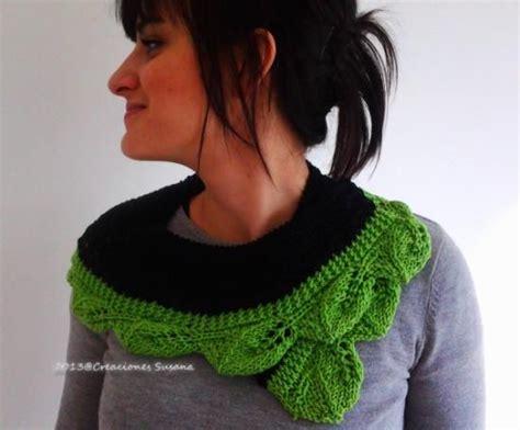 bufanda collar tejido en dos agujas bufanda tejida hojas de primavera cuello tejido a dos