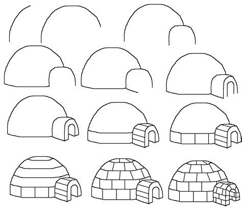 easy pattern sketch how to draw a cartoon igloo easy free step by step
