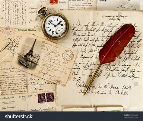 old vintage images old letter post cards feather quill stock photo 110586626