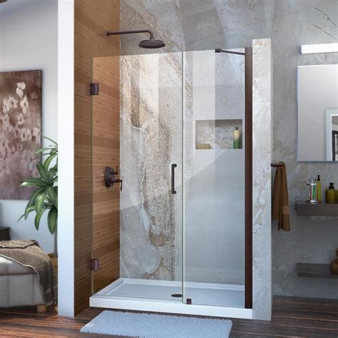 Bronze Shower Doors Shop Dreamline Unidoor 44 In To 45 In Frameless Rubbed Bronze Hinged Shower Door At Lowes