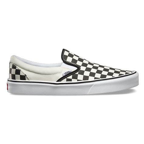 slip on lite in checkerboard black classic white vans