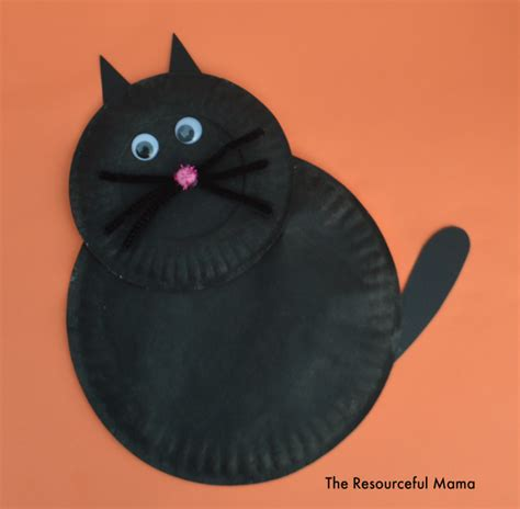 paper plate black cat allfreekidscraftscom
