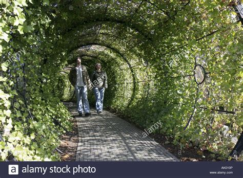 alnwick england uk the alnwick garden the poison garden tunnel couple stock photo royalty free