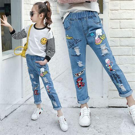 teenage girls jeans  spring summer children broken