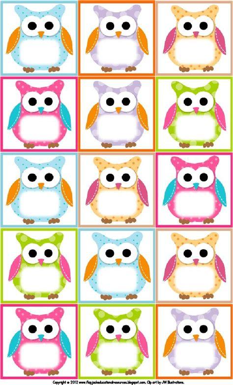 free printable owl nameplates volta 224 s aulas etiquetas personalizadas para imprimir