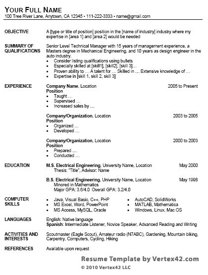 Free Resume Template For Microsoft Word Template For Resume Microsoft Word