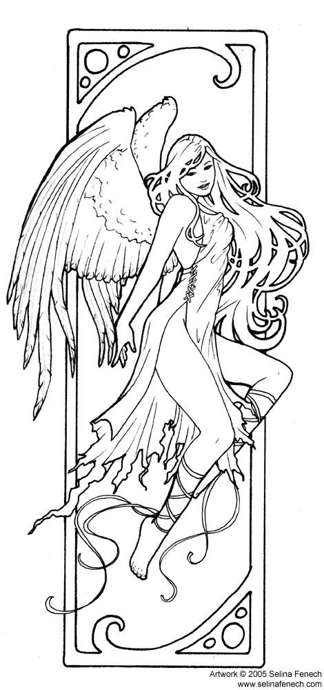 realistic angel coloring pages art nouveau angel colors adult coloring pinterest