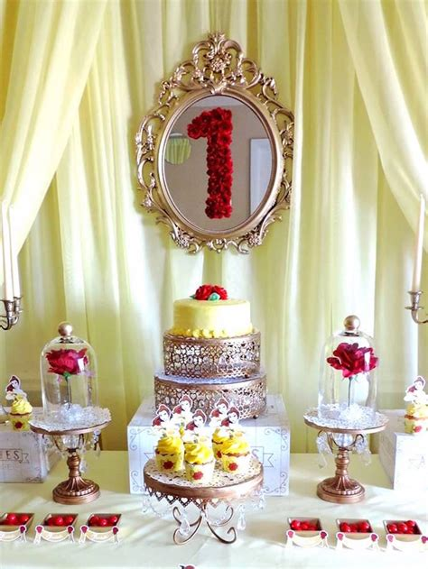 kara s party ideas cake table from a beauty and the beast