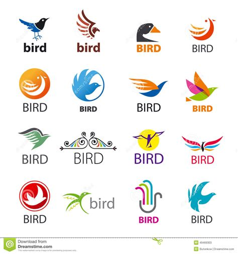 set of vector logos birds stock vector illustration of