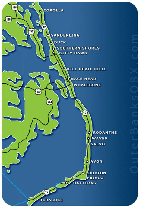 map of carolina outer banks outer banks vacation rentals outer banks nc rentals