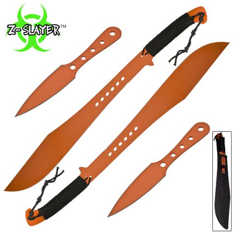 Kitchen Knives For Sale Cheap z slayer dual sword throwing knife 4 pc set orange