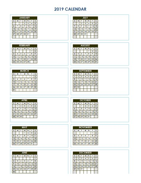 blank yearly calendar vertical template  printable templates
