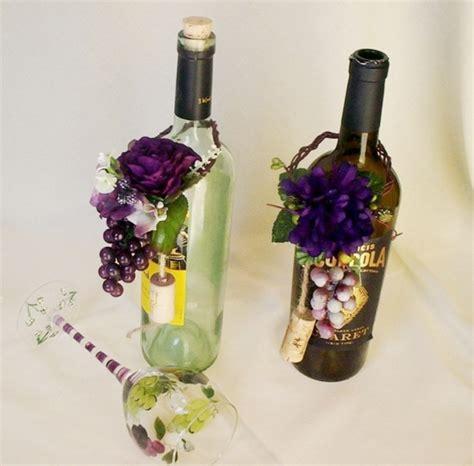 wine bottles for wedding centerpieces vineyard wedding wine bottle centerpiece grape purple topper