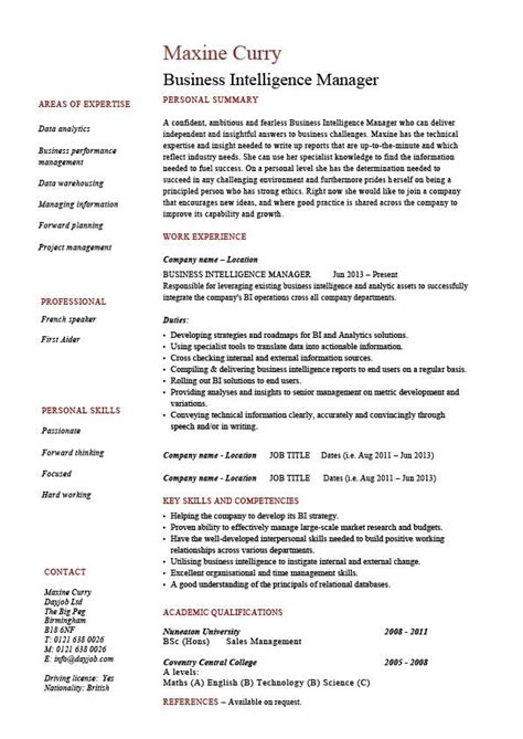 business intelligence sle resume sle resume for business intelligence project manager 28