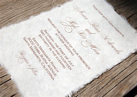 Paper For Wedding Stationery by Mulberry Paper Wedding Invitation Handmade Paper Eco
