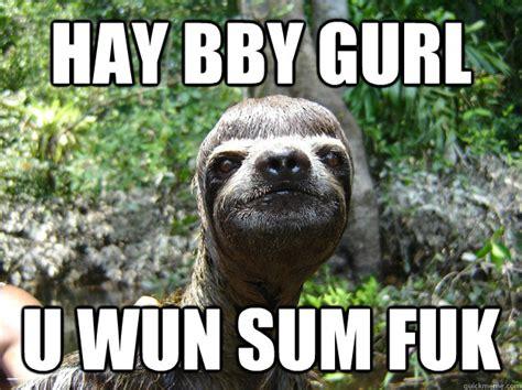 Hay Meme - hay bby gurl u wun sum fuk sloth meme quickmeme