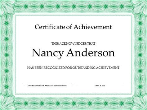 free achievement certificate template for powerpoint