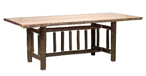 hickory rectangle log dining table 6 foot