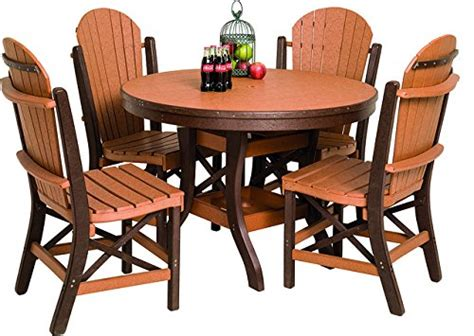 48 plywood round tables seats 4 6 poly lumber patio furniture set including 1 round table