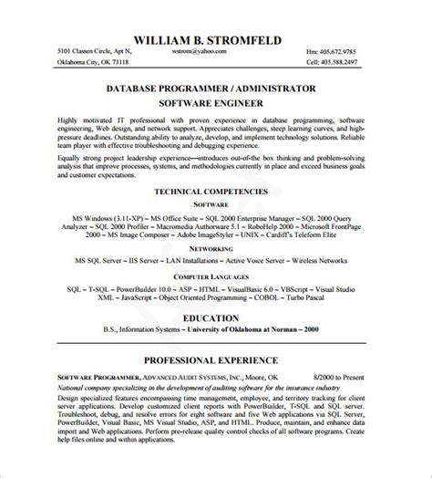 resume format for system administrator pdf database administrator resume template 8 free word