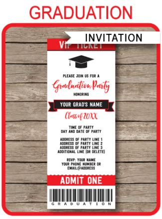 graduation ticket template printable invitations archives simonemadeit