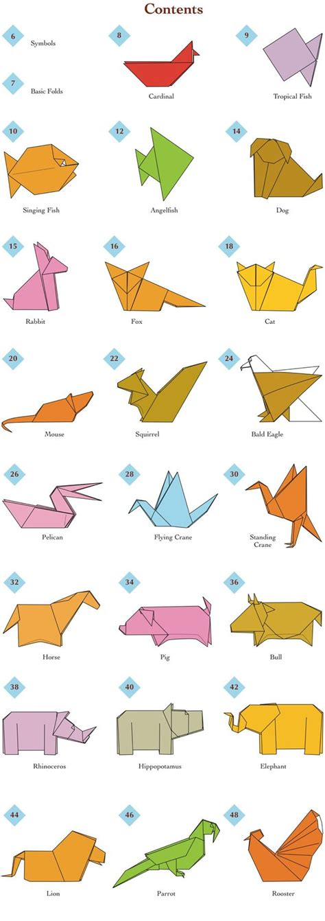 Animal Origami - easy origami animals page 2 of 6 contents