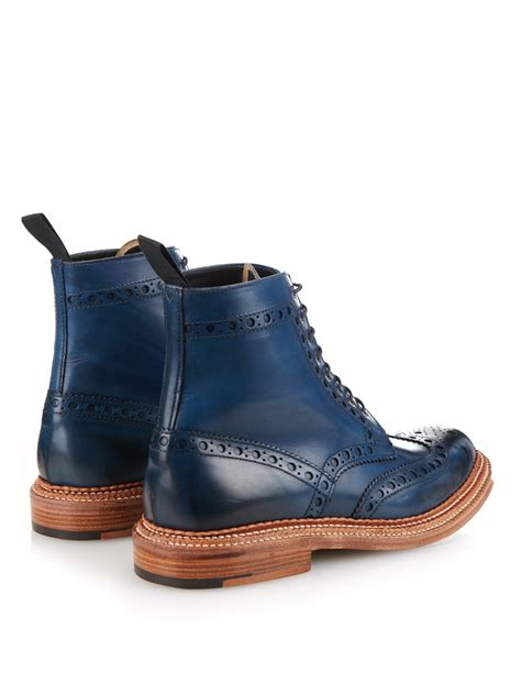 boots blue lyst foot the coacher fred leather brogue boots in blue