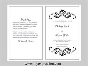wedding program template bifold black vintage heart scroll