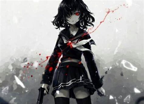 anime girl killer wallpaper anim 233 noir et blanc sang fille gris image 3149037