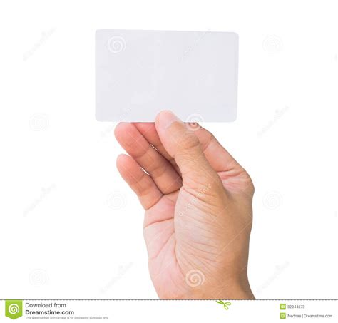 Holding Credit Card Template Business Card In Stock Photos Image 32044673