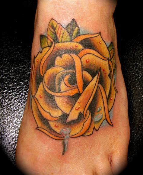 traditional yellow rose tattoo 55 beautiful tattoos on foot