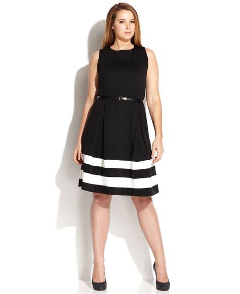 calvin klein plus size striped hem belted dress in black