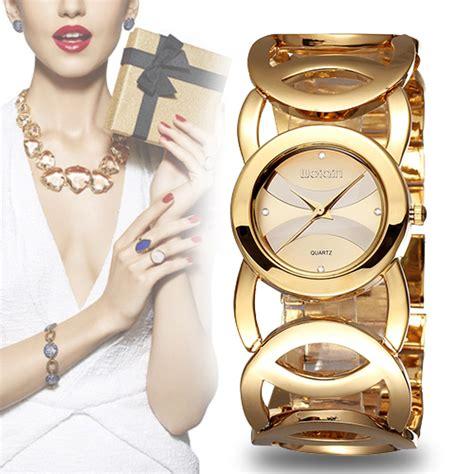Jam Tangan Emas Quartz weiqin merek mewah emas jam wanita fashion gelang