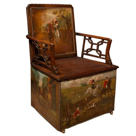 armchair toilet singular george iii painted hunt chair english 18th