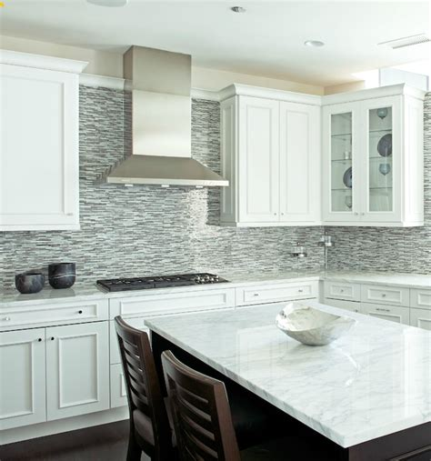 Blue Mosaic Tile Backsplash Contemporary Kitchen White Kitchen Cabinets Backsplash