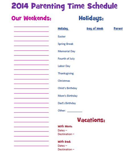 custody parentingtime jointcustody parenting schedule