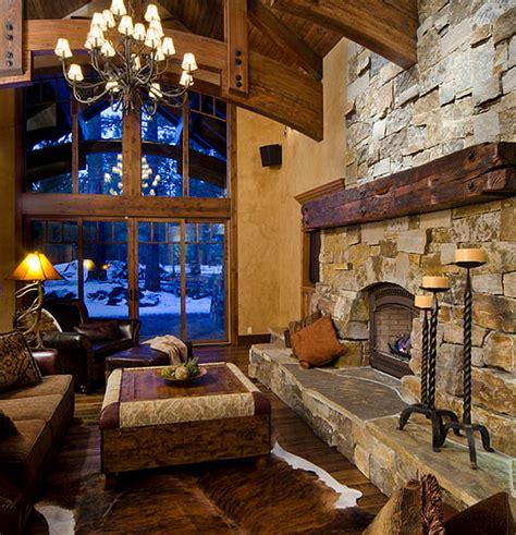 marvelous rustic lodge cabin home decor decorating ideas cast stone fireplace interior design ideas interesting