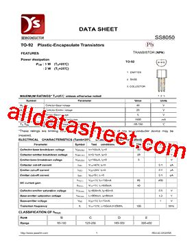 transistor ss8050 datasheet ss8050 datasheet pdf yea shin technology co ltd