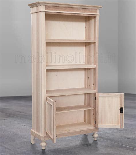 mensole in legno arte povera libreria a giorno con mensole e 2 ante grezzo