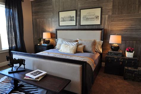 masculine bedroom  wallpapered accent wall hgtv