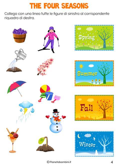 test d ingresso francese le stagioni in inglese per bambini schede didattiche da