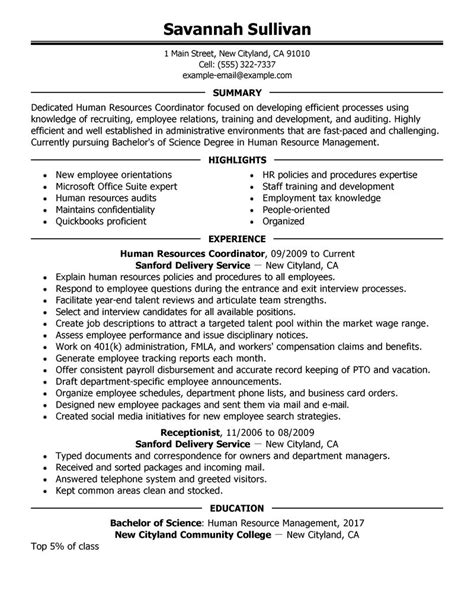 Hr Resume Exles by Hr Coordinator Resume Exle Human Resources Sle Resumes Livecareer