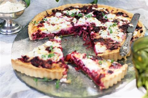 goat cheese tart beetroot and goat s cheese tart recipe taste com au